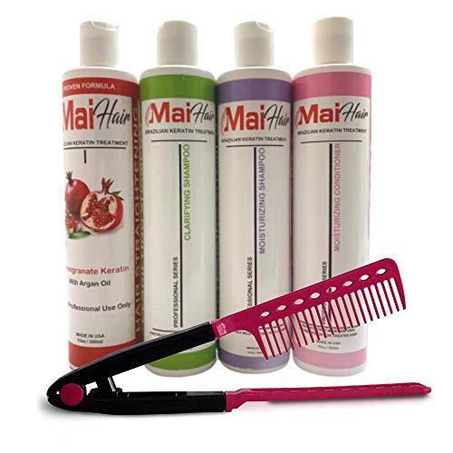 Complex Brazilian Keratin Hair Treatment Complex Kit with Argan Oil Improved Formula/Pomegranate & Argan Oil Fragrance Keratin, Sulfate Free/Professional Kit / 10oz-300ml / Hair comb bonus /
