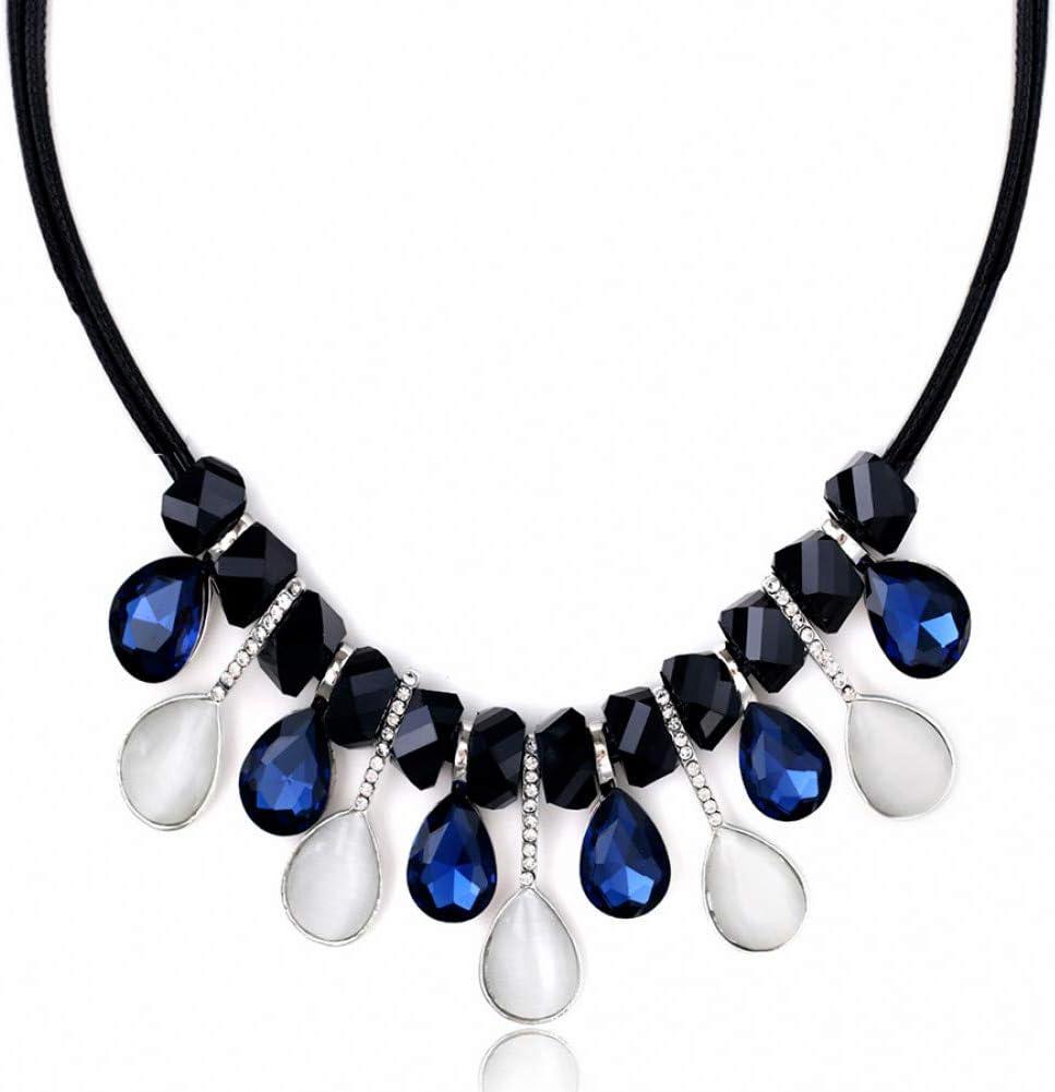 IJEWALRY Collar Colgante Plata para Mujer, Encanto Gargantillas Collares Llamativos para Mujeres Gota De Agua Colgantes De Cristal De Ópalo Cuero De PU Maxi Collares Joyería De Moda