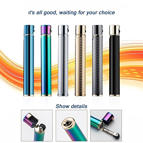 Navpeak Long Strip Refillable Butane Gas Cigarette Lighter Wheel Fire Starter for Men&Women