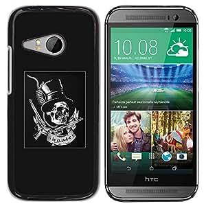 GOODTHINGS ( NO PARA HTC ONE M8 ) Funda Imagen Diseño Carcasa Tapa Trasera Negro Cover Skin Case para HTC ONE MINI 2 / M8 MINI - gris arriba pistolas sombrero rollo de la roca del metal