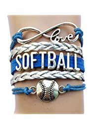 DOLON 13 Colors SoftballBracelets Jewelry-Her Gift for Sports Softball Lovers Players,Lovers,Teams,Club,College High School