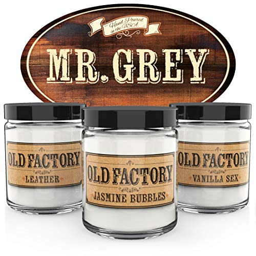 Old Factory Scented Candles - Mr. Grey - Set of 3: Leather, Jasmine Bubbles, Vanilla Sex - 3 x 4-Ounce Soy Candles ()