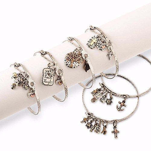 Bracelet-Inspirational Hook Bangle w/Charm-Asst Styles (Pack of 6)