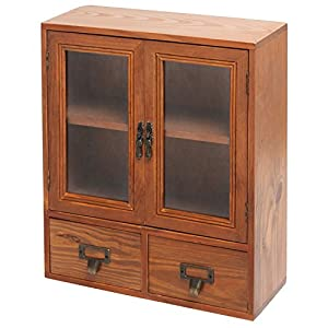 Mini Tabletop Wood Display Cabinet, Shadow Box With Glass Doors, 2 Shelves  U0026 2 Drawers, Brown