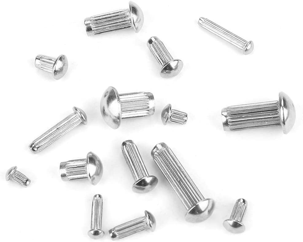 Knurled Shank Rivet 250pcs M2-M5 Stainless Steel Round Head Knurled Shank Solid Rivets Assortment Set with Box for Product Labels Nameplates Fastening
