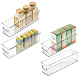 mDesign Plastic Food Storage Container Bin with Handles - for Kitchen, Pantry, Cabinet, Fridge/Freezer - Narrow Organizer for Snacks, Produce, Vegetables, Pasta - BPA Free, Food Safe - 4 Pack, Clear
