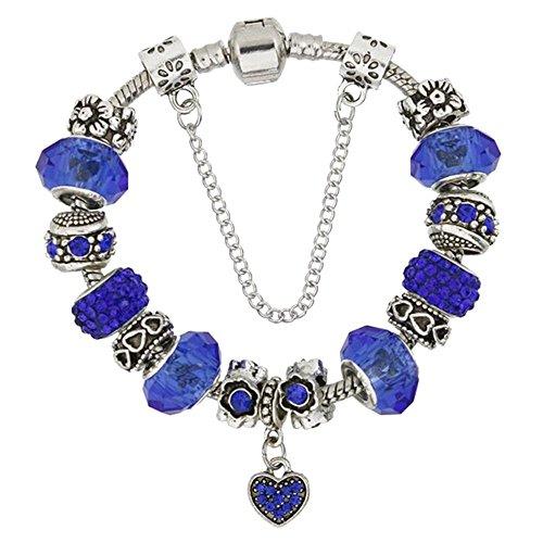 Silver-Tone Love Heart Bead Charm Bracelet Snake Chain Glass Crystal Beads for Women - Blue