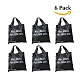 Waste-Less Bags Variety Pack Strong Ripstop Nylon Foldable Reusable Bag Grocery Shopping Tote (Pack of 6)