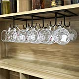 WTT Warm Van Retro Creative Under Cabinet 12 Hook Shelf,Mugs Coffee Cups Wine Glasses Storage Drying Rack,Cabinet Hanging Shelves,Organizer for Ties and Belts,Upside Down Wine Glass Holder (Black)