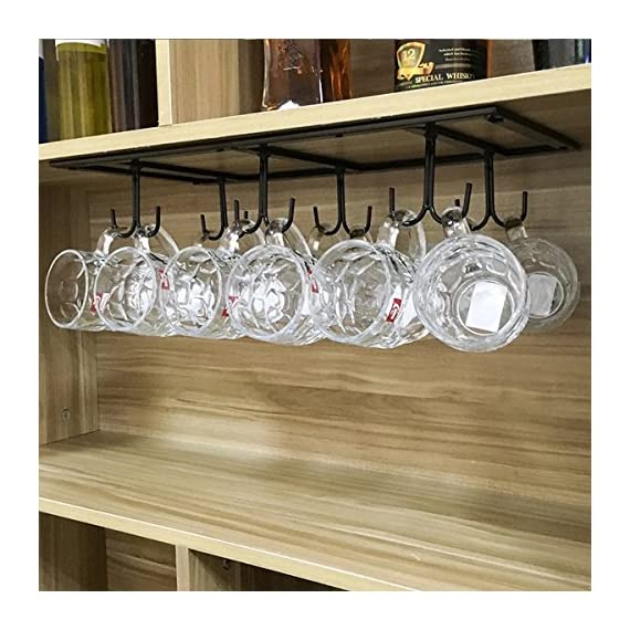 "FURVOKIA Creative Mug Holder Under Cabinet Hooks,Upside Down Coffee Cups Hanging Rack,Organizer for Ties and Belts Storage Shelves (Black) - Mug Rack Size: 20''L x 9''W x 2.75 ""H inch. the coffee rack is fine iron material,Fine workmanship,quality assurance Strong Practicality: Not only use in kitchen but also for ties, belts, towels, gloves, scarves and hand bags hanging in your cabinet,a strong load-bearing Space Saving: this hanging rack with 12 hooks can easy dry up your mugs and kitchenware, such as mugs, cups, dish cloth, spatula, can opener, scissors, dish towel, etc - wall-shelves, living-room-furniture, living-room - 51gQ uMagVL. SS570  -"