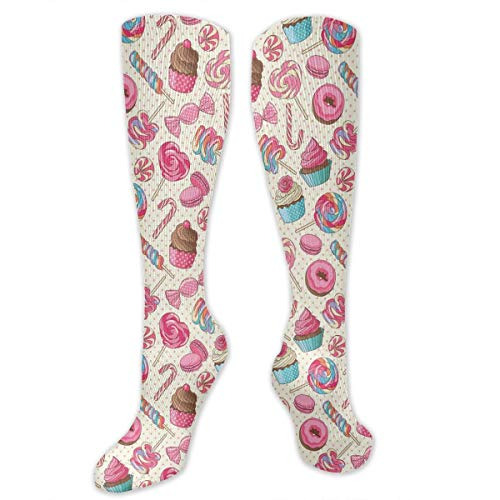 Compression Socks for Women and Men,Yummy Sweet Lollipop Candy Macaroon Cupcake And Donut On Polka Dots Pattern,Best Medical,for Running,Hiking,Varicose Veins,Circulation & Recovery