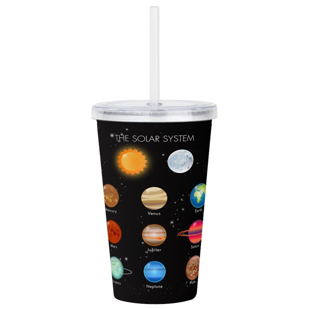 Acrylic Insulated Water Bottle Cup Solar System Sun Moon and Planets