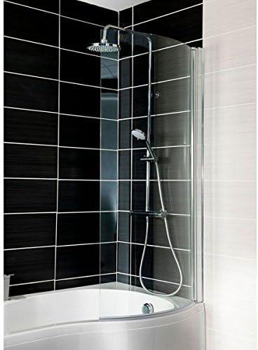 CEL003M - Mampara de baño curvada cromada para baños en forma de P ...