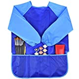 Children Art Smock Kids Art Aprons with Waterproof Long Sleeve 3 Roomy Pockets , Ages 3-8 (Paints and Brushes not included) (Blue)
