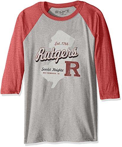 NCAA Rutgers Scarlet Knights Men's 3/4 Baseball Tee, XX-Large, Heather/Red