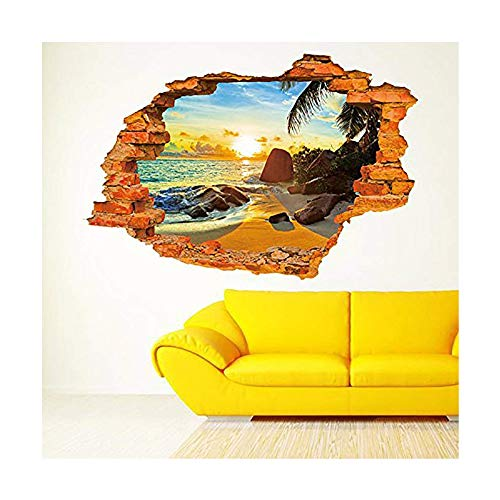 LRRH 3D Beautiful and Peaceful Sunset Beach Scenery Removable Wall Art Sticker Decal Home Décor