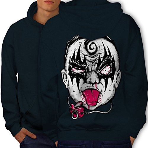 wellcoda Clown Baby Scary Horror Mens Hoodie, Angry Printed on The Jumpers Back Navy XL]()