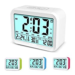 Digital Alarm Clock, XHJKZ Electronic Talking Alarm Clocks Snooze Function 4.5'' Big Display Temperature Backlight 3 Alarms for Heavy Sleepers Gift for Children,Teens Battery Operated -White