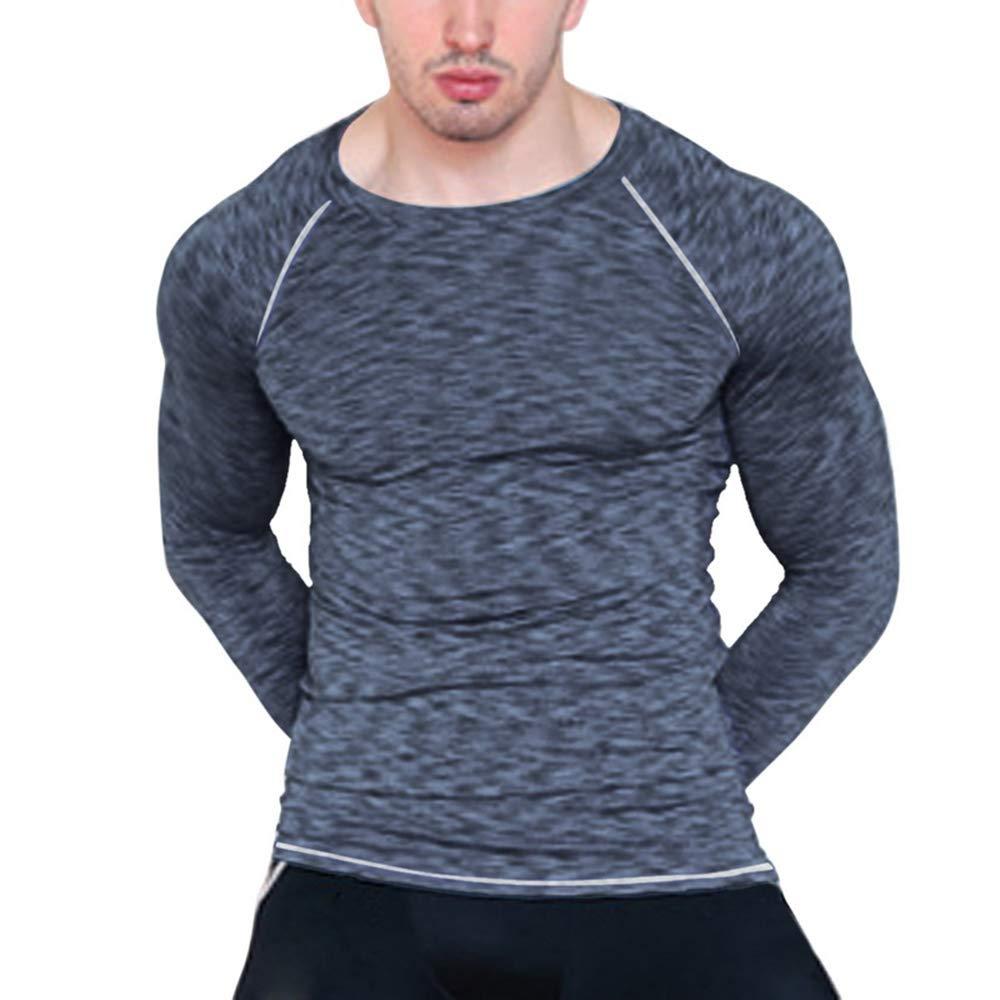 Camiseta Compresió n Ropa Deportiva Hombre Manga Larga de Aptitud Jogging Tops T-Shirts Camiseta de Deporte para Gimnasio Running Fitness Entrenamiento Yoga Msliy