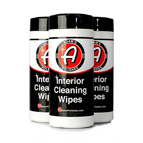 Adam's Interior Cleaning Wipes 30 (7 x 9 inch) Wipes - Powerful Cleaner Removes Embedded Dirt - Great for Leather and Vinyl Steering Wheels, Door Panels, Dashboards, Plastic, and Other Vinyl (3 Pack)