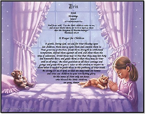 Children's Prayer Personalized Girl Keepsake Includes: Verse, Prayer, Name Personalization, Name Origin, Name Meaning. Perfect for Birthday's or Special Occasion