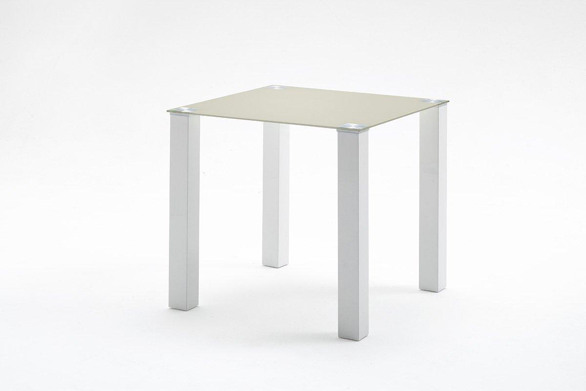Robas Lund, Tisch, Esszimmertisch, Glastisch, Hanna, Hochglanz weiß taupe, 80 x 80 x 76 cm, HA80HWTA