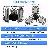 LED Garage Light, 100W Deformable E26 LED Garage