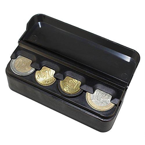 YINUO CH0001 EURO Münzbox 4x13/Kunststoff Münzhalter/Münzzähler/Münzen-Halter, Schwarz