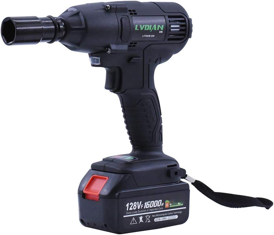 Llave de Impacto 520Nm // 19800mAh Bater/ía de Litio//par de torsi/ón de 2500 rpm//Brushless 128VF Atornillador Impacto con 22 mangas A