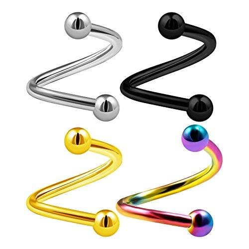4PCS Surgical Steel Spiral Barbell 14 Gauge 1/2 12mm 4mm Ball Eyebrow Helix Rim Lobe Earrings Labret Piercing Jewelry 2985 ()