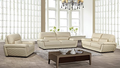 - American Eagle Furniture Emma Collection Modern 3 Piece Italian Leather Living Room Set with Sofa, Loveseat and Chair, Cream