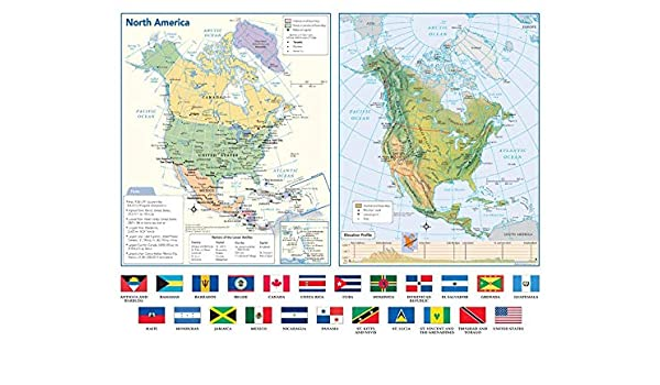 Amazon.com : North America Political & Physical Continent ...