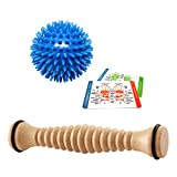 Body Back Company's Wooden Foot Roller & Soft Spiky Porcupine Massage Ball - Reflexology & Myofascial Release Tools for Pain Relief from Plantar Fasciitis, Heel Spurs & Sore, Tired, Cramped Muscles