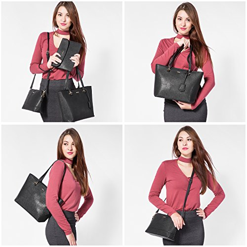 Satchel Tote Women Set Handbags Top Black for 1 3PCS Handle Purse Bag Bag Shoulder xnxrH58qw