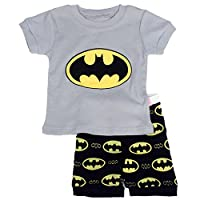 """Gray Bat "" Boys Shorts 2 Piece Pajama Set 100% Cotton G6057,Size 6Mos-10Yrs"