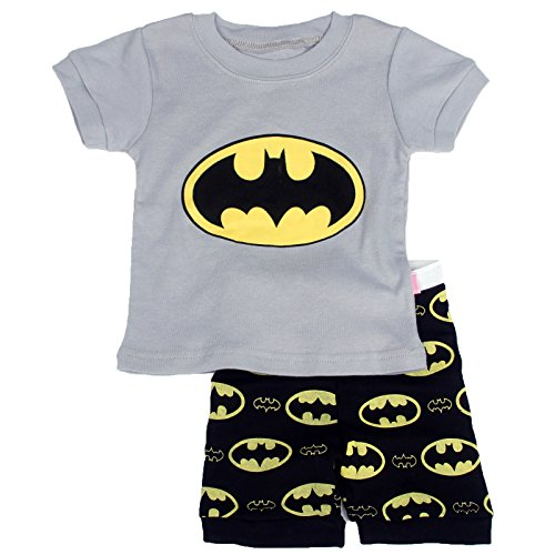 "Batman Products : ""Gray Bat "" Boys Shorts 2 Piece Pajama Set 100% Cotton G6057,Size 6Mos-14Yrs"
