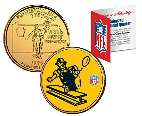 Licensed Pittsburgh Steelers Retro NFL Colorized Pennsylvania Statehood 24 KT Gold Quarter! W/H COA & Display ()