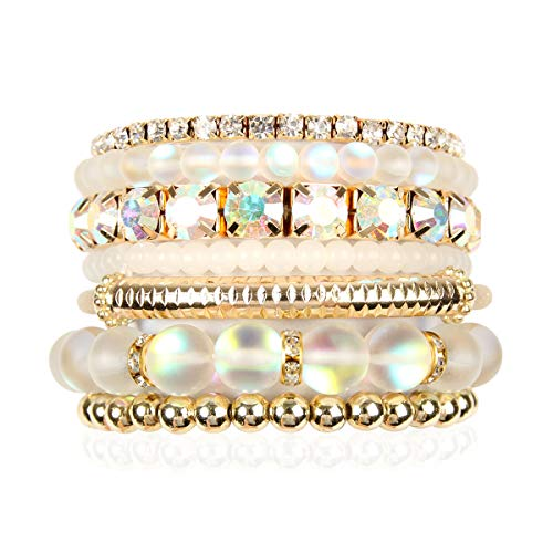 RIAH FASHION Multi Color Stretch Beaded Stackable Bracelets - Layering Bead Strand Statement Bangles (Mermaid Glass - White, 7)