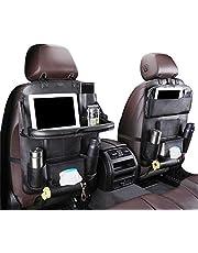 Auto Organizer Auto Rückenlehnenschutz mit klappbarem Tisch PU Leder Auto Rücksitz Für Kinder Babyspielzeug und Tablette (2 Stücke)