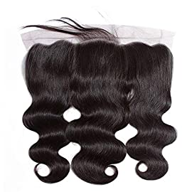 Body Wave Lace Frontal Closure 13by4 Ear to Ear Full Hand Drawn Natural Virgin Hair (16 inch, Natural Black)