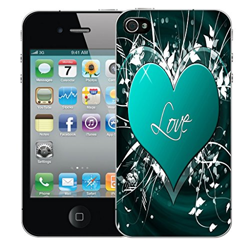 Mobile Case Mate iPhone 4 Silicone Coque couverture case cover Pare-chocs + STYLET - Blue Love Embrace pattern (SILICON)