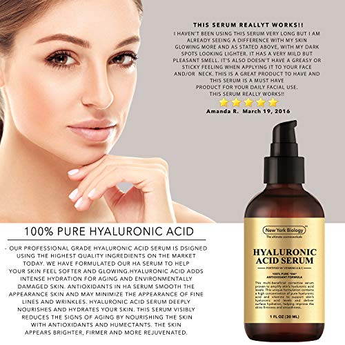 51gQ37BCMwL - New York Hyaluronic Acid Serum with Vitamins A and C - Professional Strength Anti Aging Face Serum Improves Skin Texture and Moisturizes Skin - 1 oz