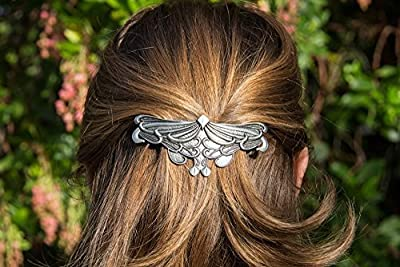 Art Nouveau Leaf Hair Clip - Hand Crafted Metal Barrette Made in the USA with a Large 80mm Imported French Clip By Oberon Design