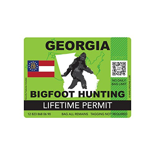 Georgia Bigfoot Hunting Permit Sticker Die Cut Decal Sasquatch Lifetime FA Vinyl