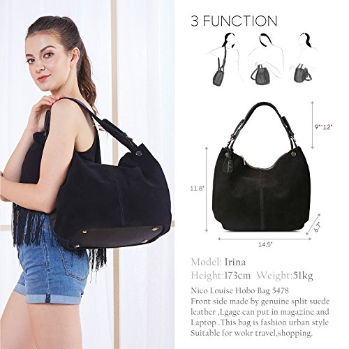 Black Leather Purse bag Hobo Nico Shoulder Women's RHd7DcbWm1e Bag Genuine Casual Suede twxpZPq