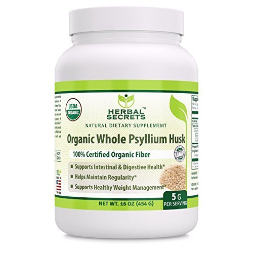 Herbal Secrets USDA Certified Organic Psyllium Husk 16 Oz (Non-GMO)- Vegan, Dairy Free, Gluten Free, no Sugar-Supports Intestinal & Digestive Health,Supports Healthy Weight ()