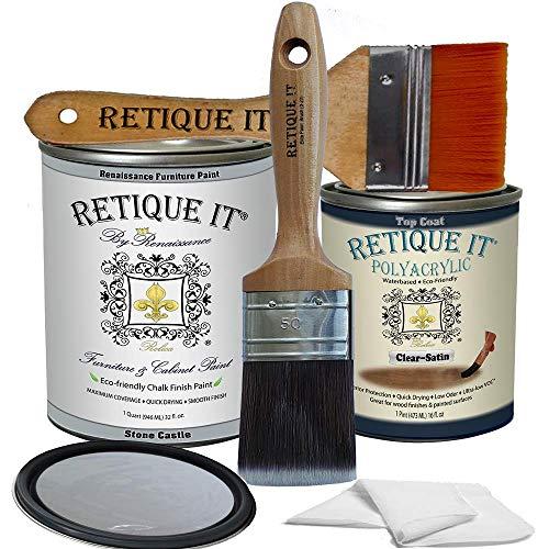 Retique It Chalk Furniture Paint by Renaissance DIY, Poly Kit, 05 Stone Castle, 32 Ounces