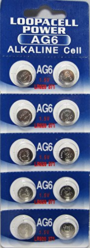 10 Pack LOOPACELL AG6 LR920 371 Alkaline Button Cell Battery