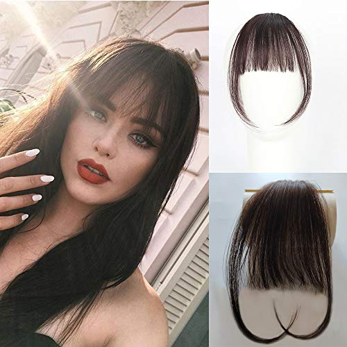 Vowinlle Air Hair bangs Clip on Real Hair #4 Dark Brown Clip in Bangs 100% Human Hair One Piece Straight Fringe Hairpiece Accessories (Flat Bangs with Temples) (Human Clip On Bangs)