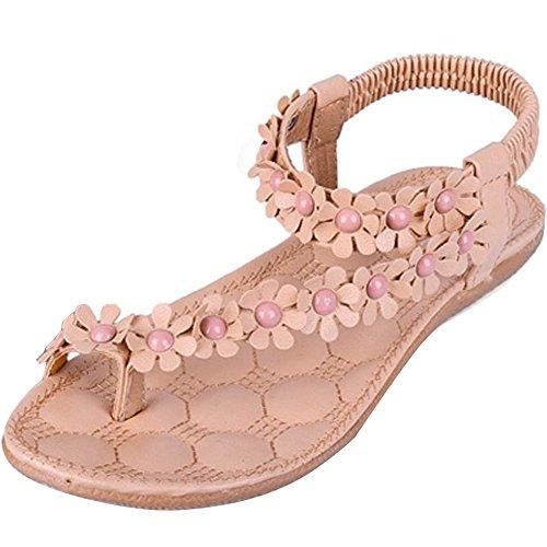 Minetome Damen Maedchen Sexy Sommer Pantoffeln Böhmen Blumen Korn Flip Flop Schuhe Flache Sandalen Rosa